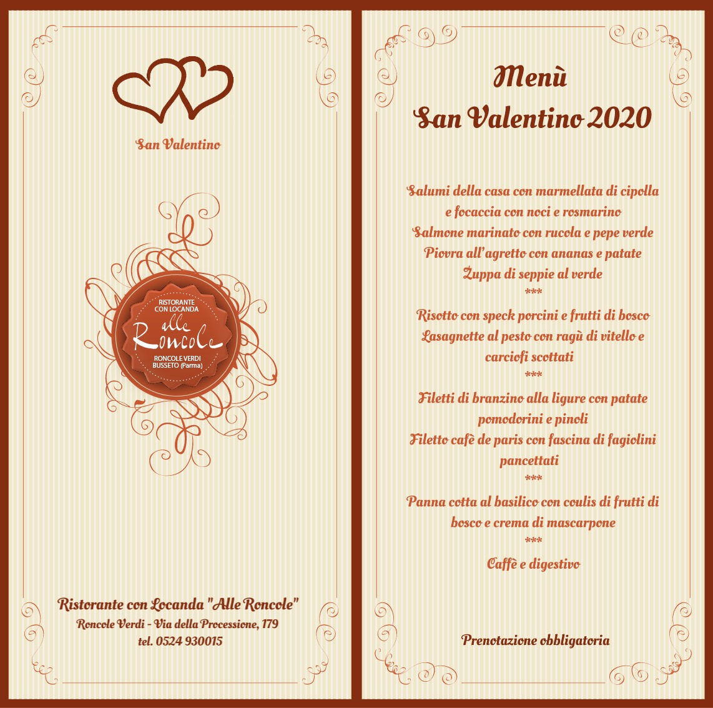 Menù san Valentino 2020